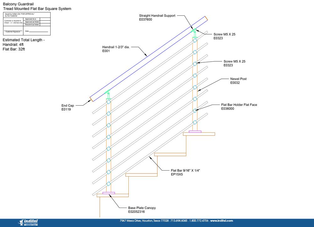Balcony Guardrail Tread Mounted Flat Bar Square System