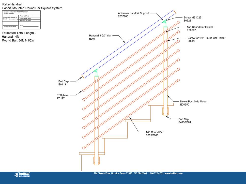 Rake Handrail Fascia Mounted Round Bar Tube System