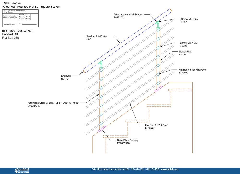 Rake Handrail Knee Wall Mounted Flat Bar Square System